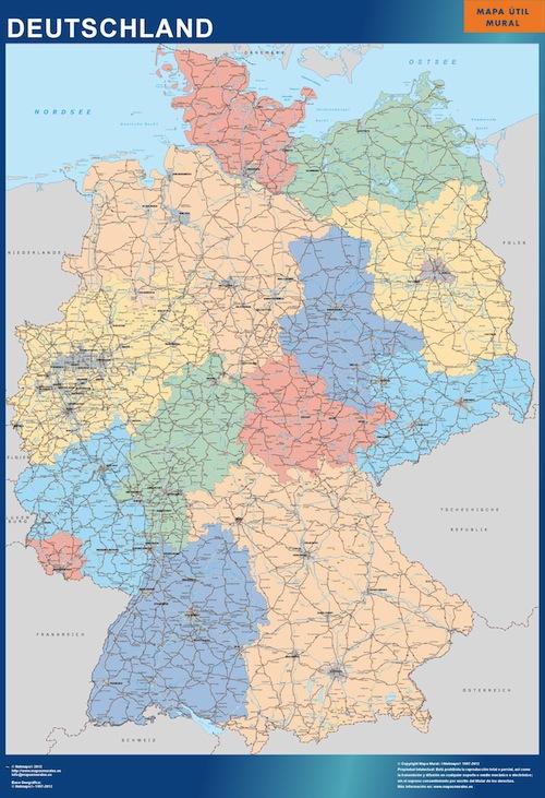 Carte Allemagne Code Postaux.Carte Murale Allemagne Ou Le Plan Carte Murale Allemagne