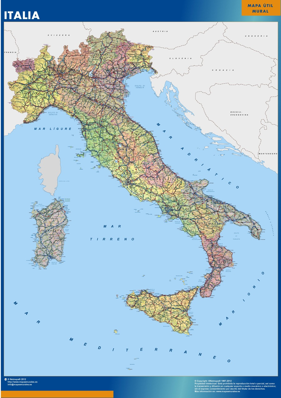 carte murale italie