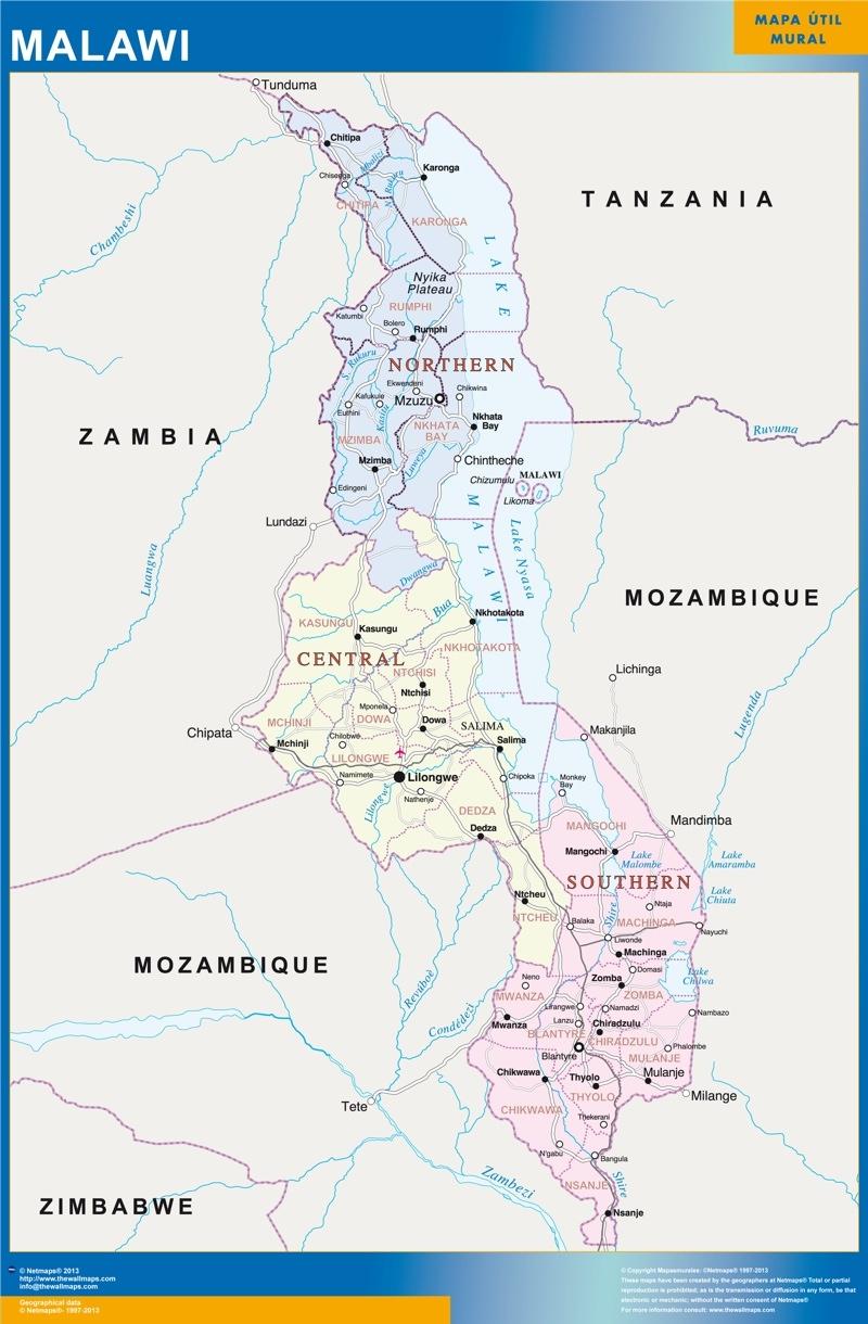 carte murale malawi