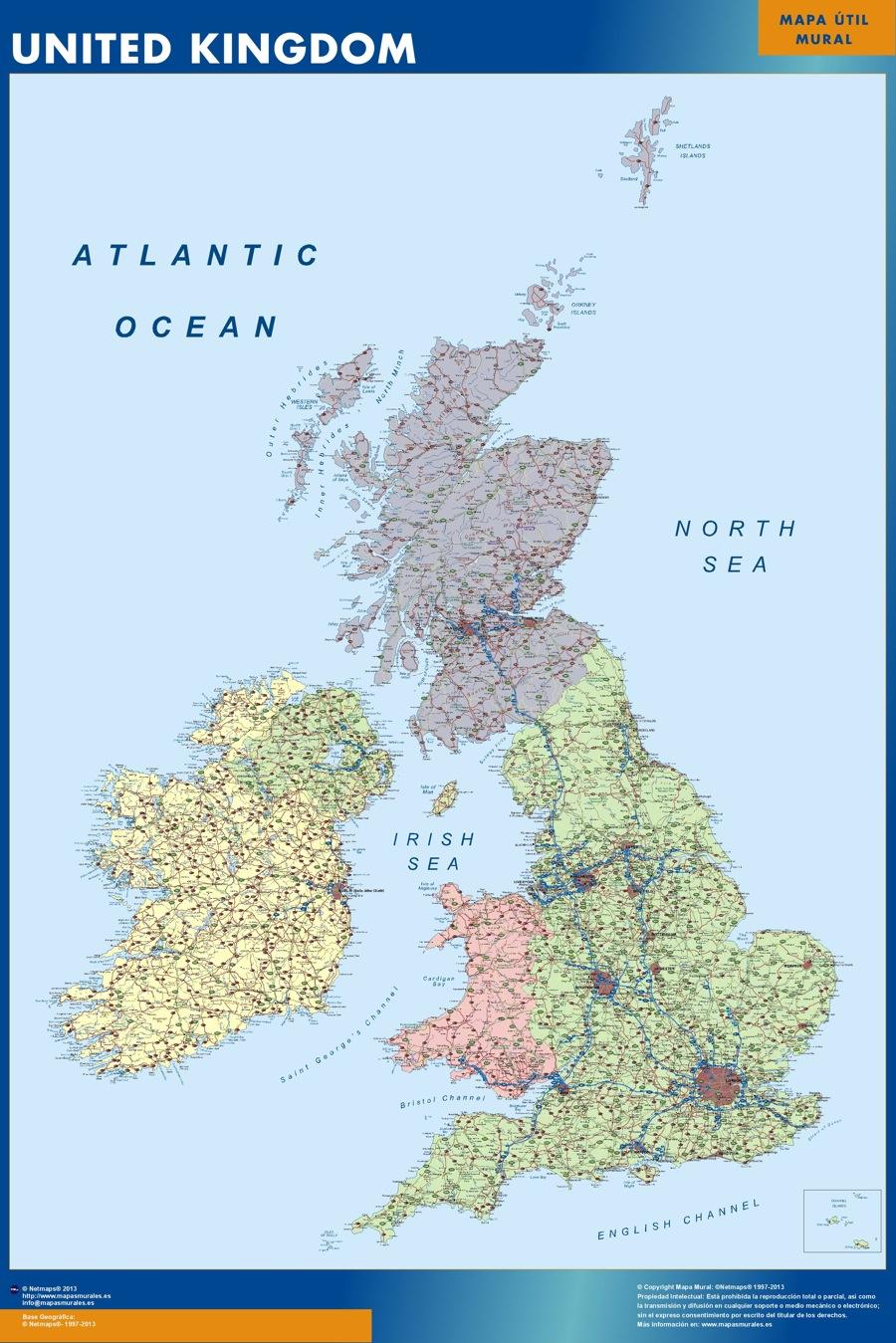 carte murale royaume uni