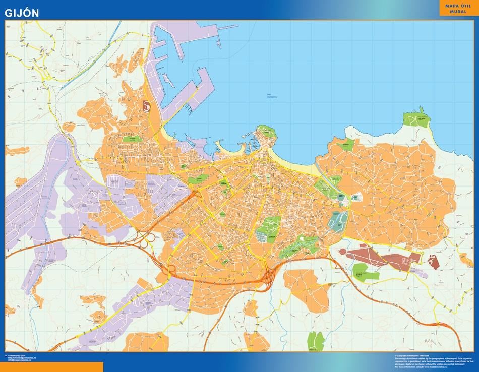 Carte Espagne Gijon.Gijon Carte Murale Ou Le Plan Gijon Carte Murale