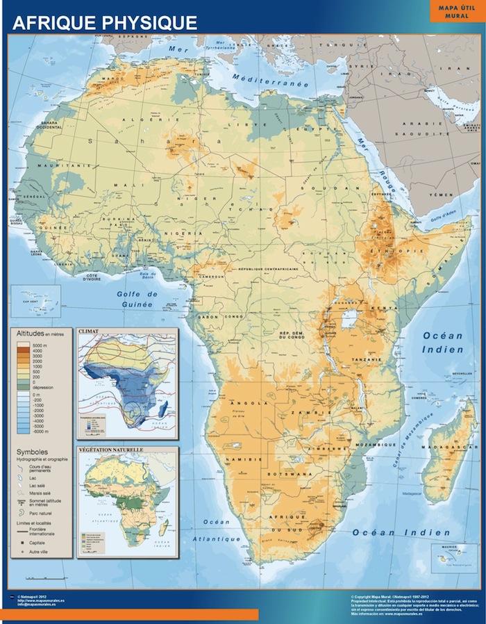 Carte Afrique Physique.Carte Afrique Physique Ou Le Plan Carte Afrique Physique