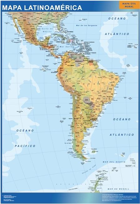 Super Achat Carte Amerique Latine plastifiée ou encadrée magnètique  GZ33