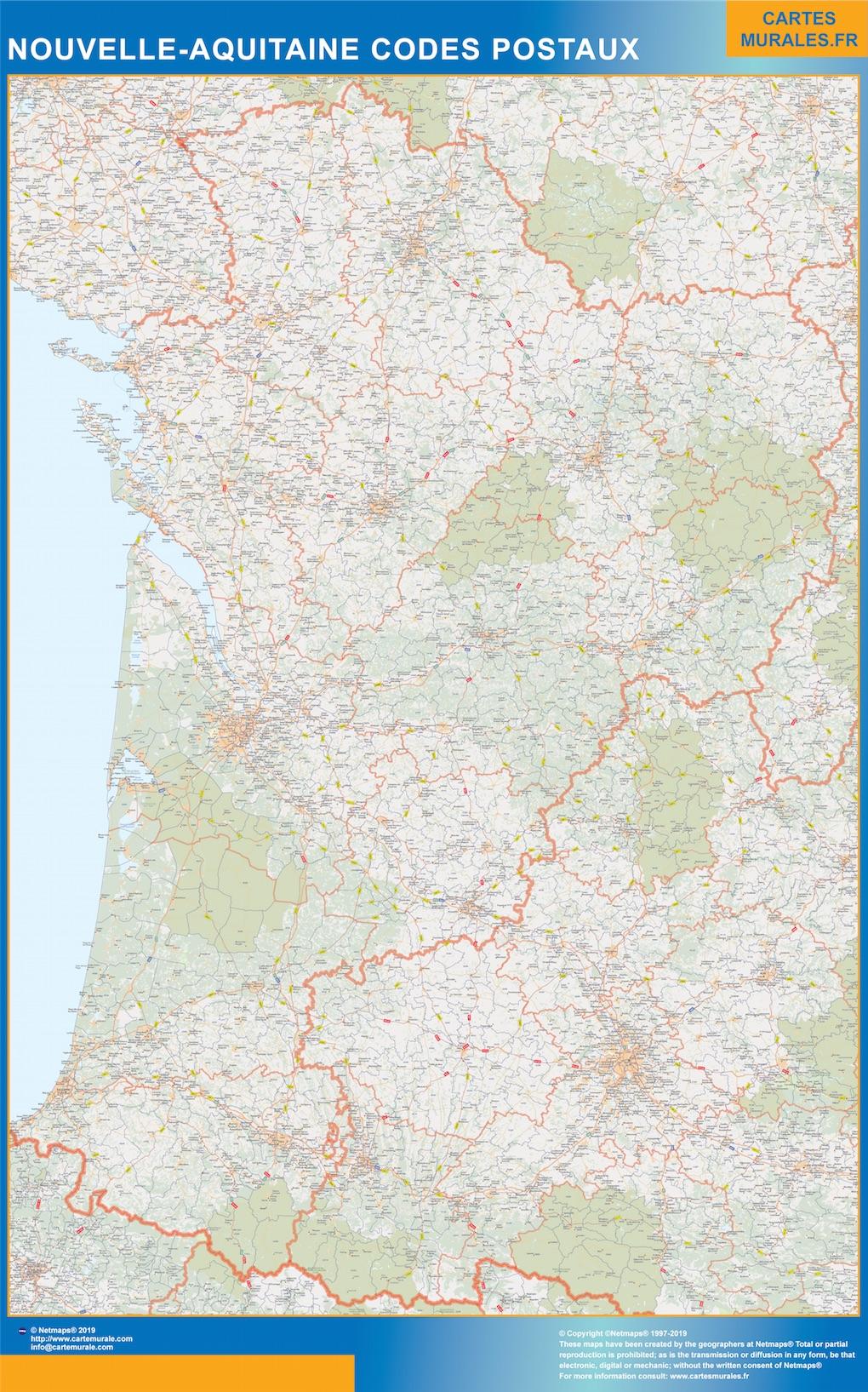 Carte Nouvelle Aquitaine codes postaux