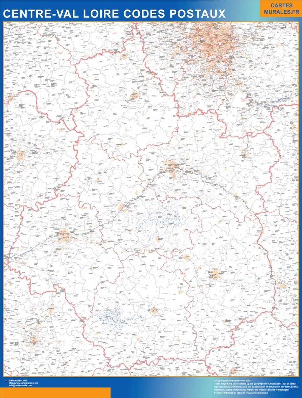 Region Centre Val Loire codes postaux