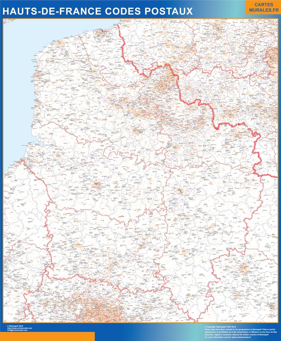 Region Hauts de France codes postaux