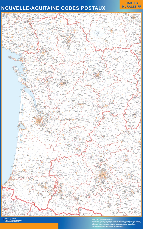Region Nouvelle Aquitaine codes postaux