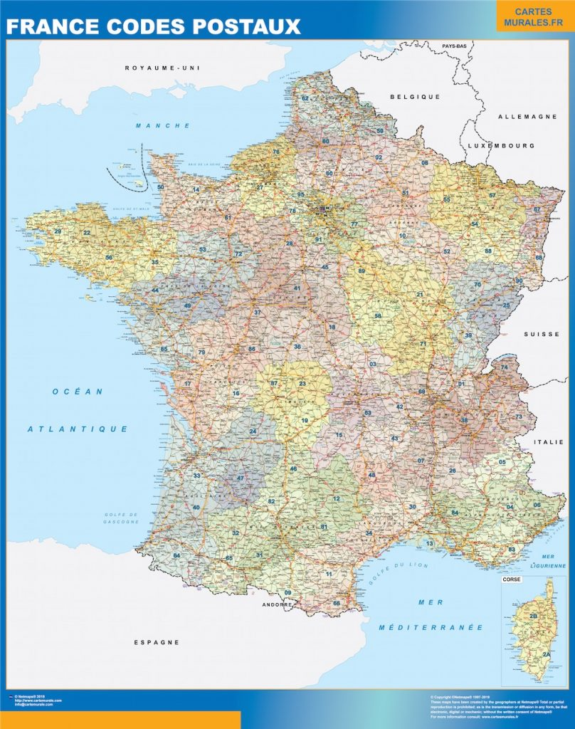 Carte France codes postaux