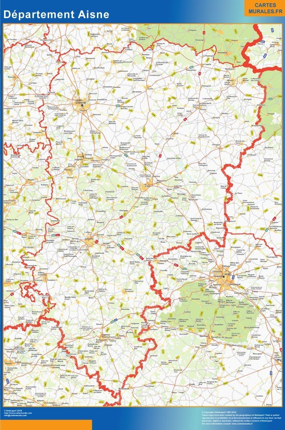 Carte departement Aisne